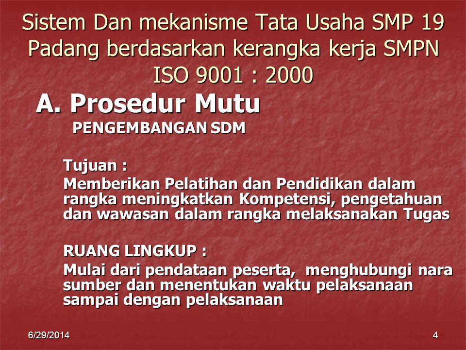 Sistem Dan mekanisme Tata Usaha SMP 19 Padang berdasarkan kerangka kerja SMPN ISO 9001 : 2000
