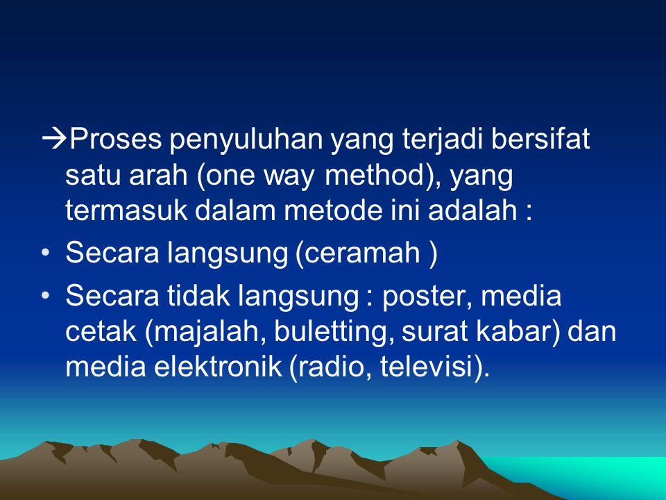Proses penyuluhan yang terjadi bersifat satu arah (one way method), yang termasuk dalam metode ini adalah :