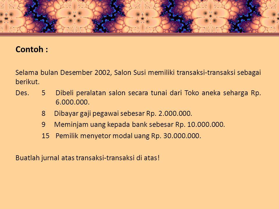 Contoh : Selama bulan Desember 2002, Salon Susi memiliki transaksi-transaksi sebagai berikut.
