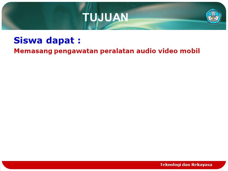 TUJUAN Siswa dapat : Memasang pengawatan peralatan audio video mobil