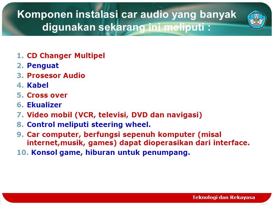 Komponen instalasi car audio yang banyak digunakan sekarang ini meliputi :
