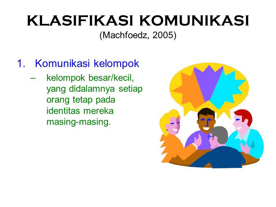 KLASIFIKASI KOMUNIKASI (Machfoedz, 2005)