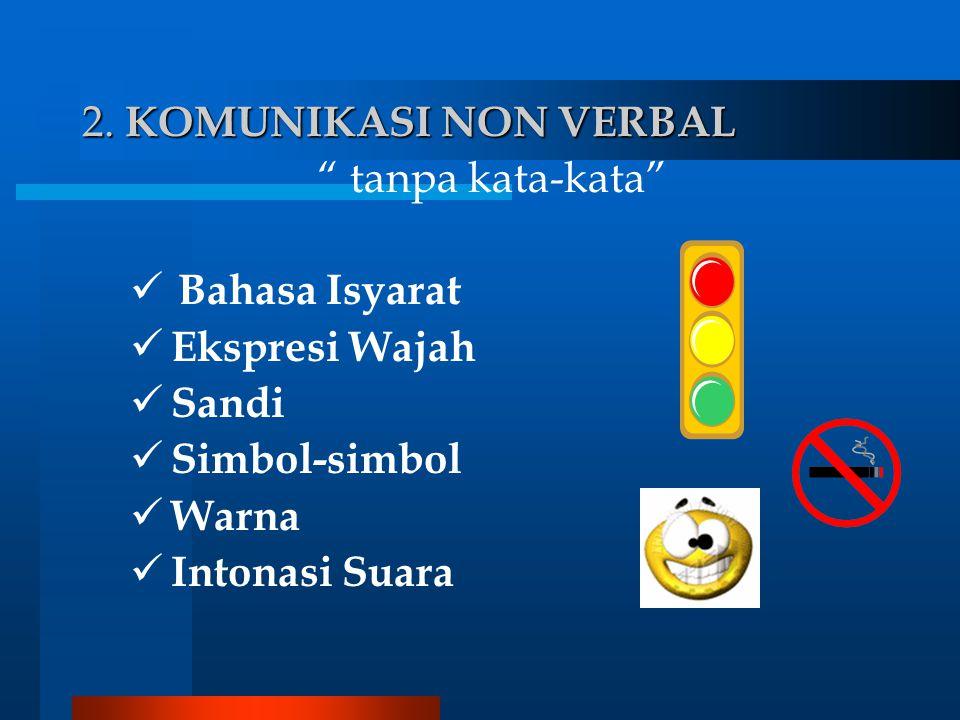 2. KOMUNIKASI NON VERBAL tanpa kata-kata Bahasa Isyarat. Ekspresi Wajah. Sandi. Simbol-simbol.