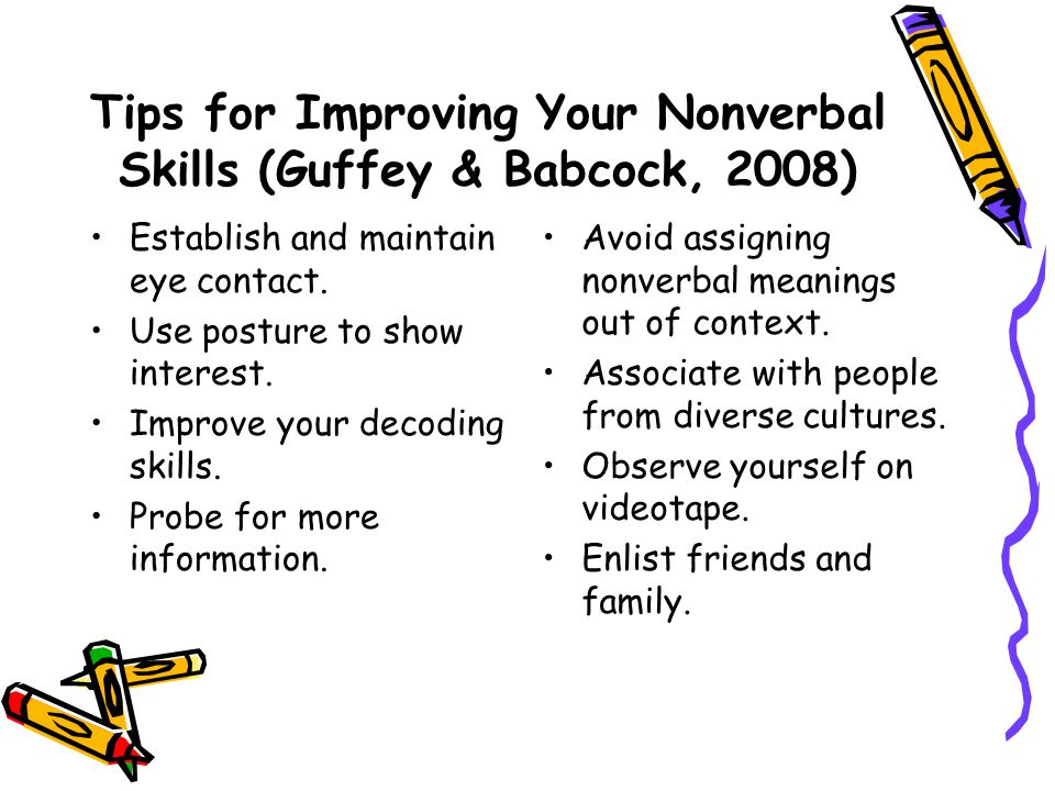 Tips for Improving Your Nonverbal Skills (Guffey & Babcock, 2008)
