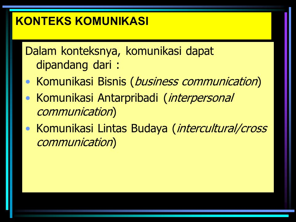 KONTEKS KOMUNIKASI Dalam konteksnya, komunikasi dapat dipandang dari : Komunikasi Bisnis (business communication)