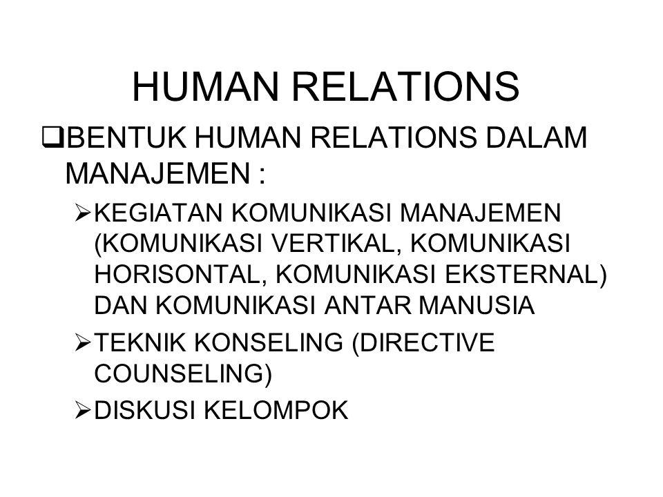 HUMAN RELATIONS BENTUK HUMAN RELATIONS DALAM MANAJEMEN :