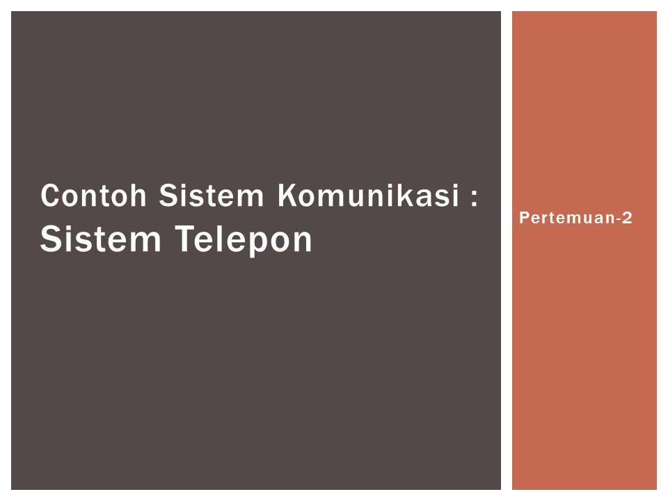 Contoh Sistem Komunikasi : Sistem Telepon