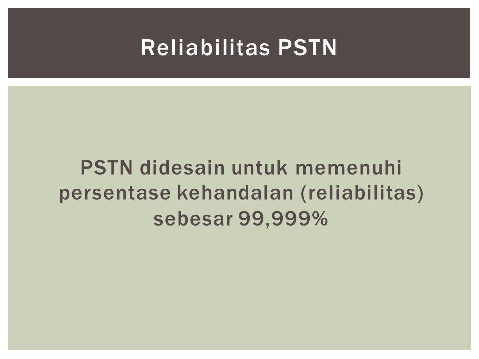 Reliabilitas PSTN PSTN didesain untuk memenuhi persentase kehandalan (reliabilitas) sebesar 99,999%