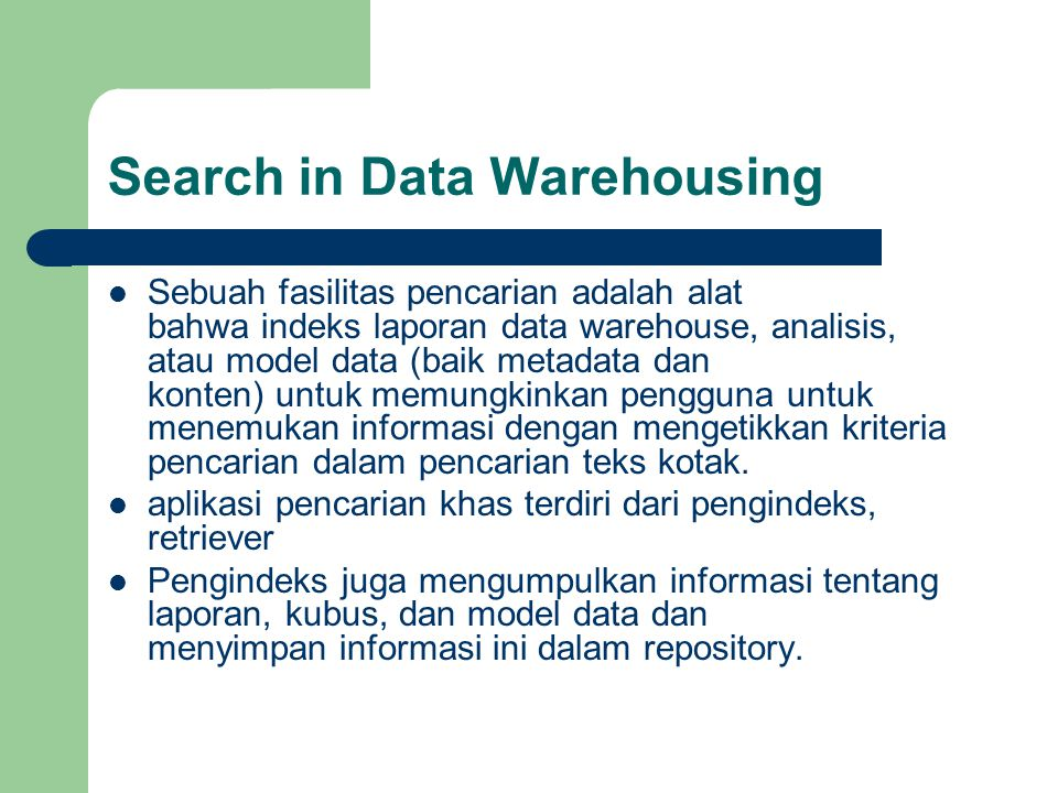 Search in Data Warehousing
