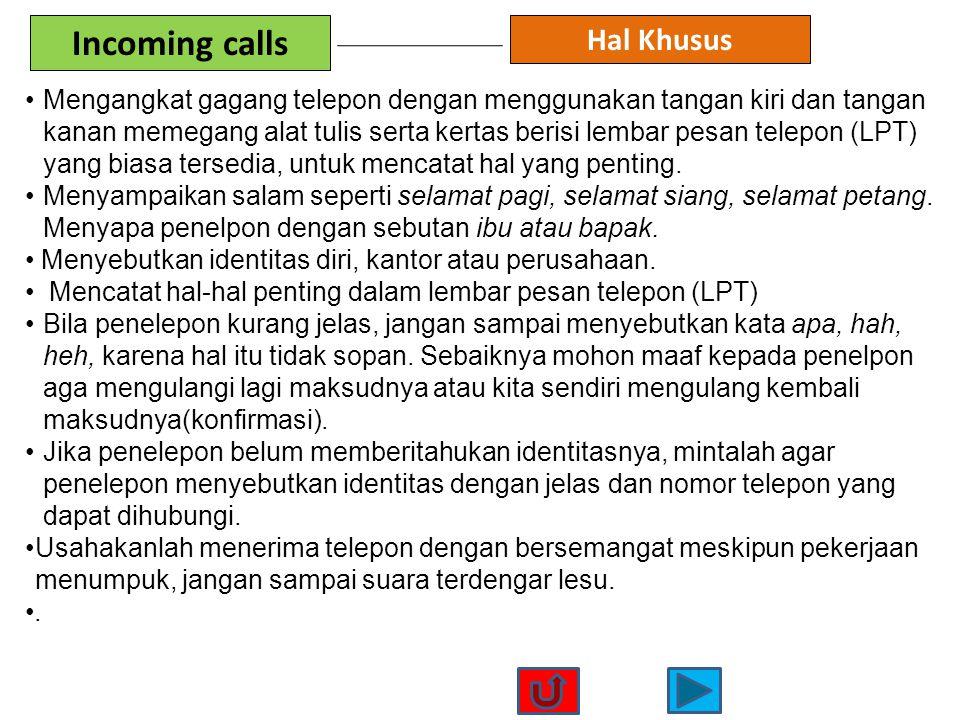 Incoming calls Hal Khusus