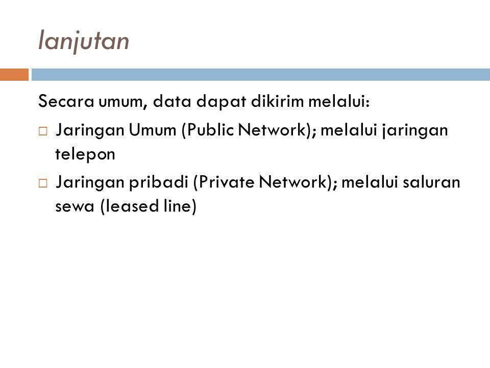 lanjutan Secara umum, data dapat dikirim melalui: