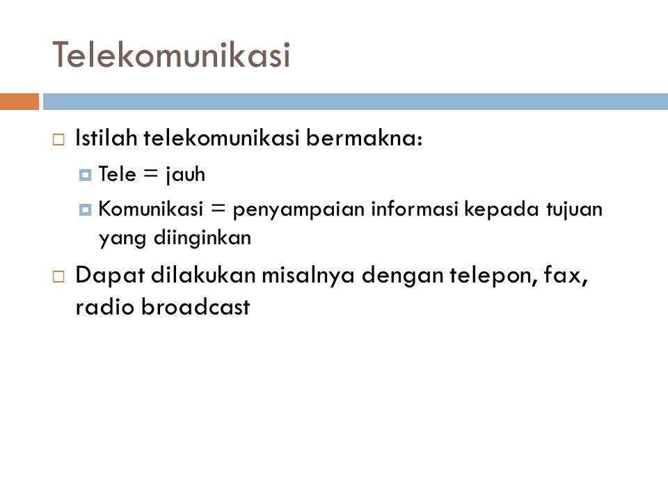 Telekomunikasi Istilah telekomunikasi bermakna: