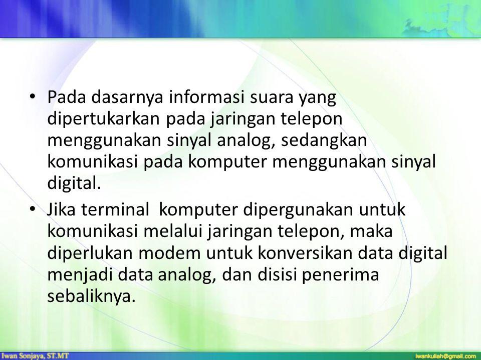 Pada dasarnya informasi suara yang dipertukarkan pada jaringan telepon menggunakan sinyal analog, sedangkan komunikasi pada komputer menggunakan sinyal digital.