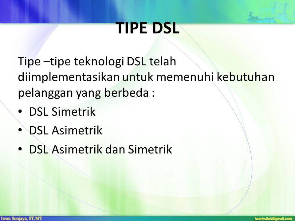 TIPE DSL Tipe –tipe teknologi DSL telah diimplementasikan untuk memenuhi kebutuhan pelanggan yang berbeda :