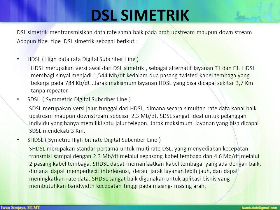DSL SIMETRIK DSL simetrik mentransmisikan data rate sama baik pada arah upstream maupun down stream.