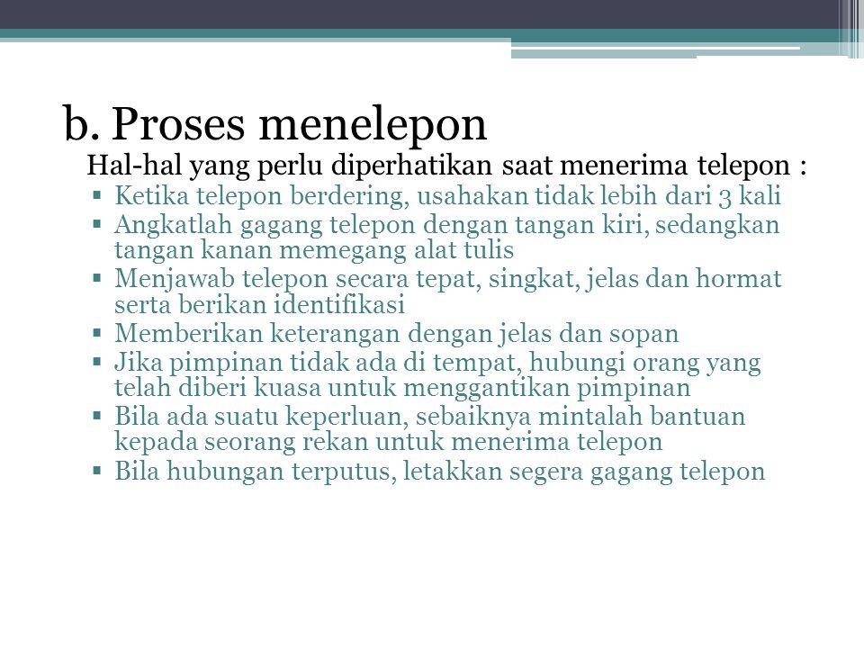 b. Proses menelepon Hal-hal yang perlu diperhatikan saat menerima telepon : Ketika telepon berdering, usahakan tidak lebih dari 3 kali.