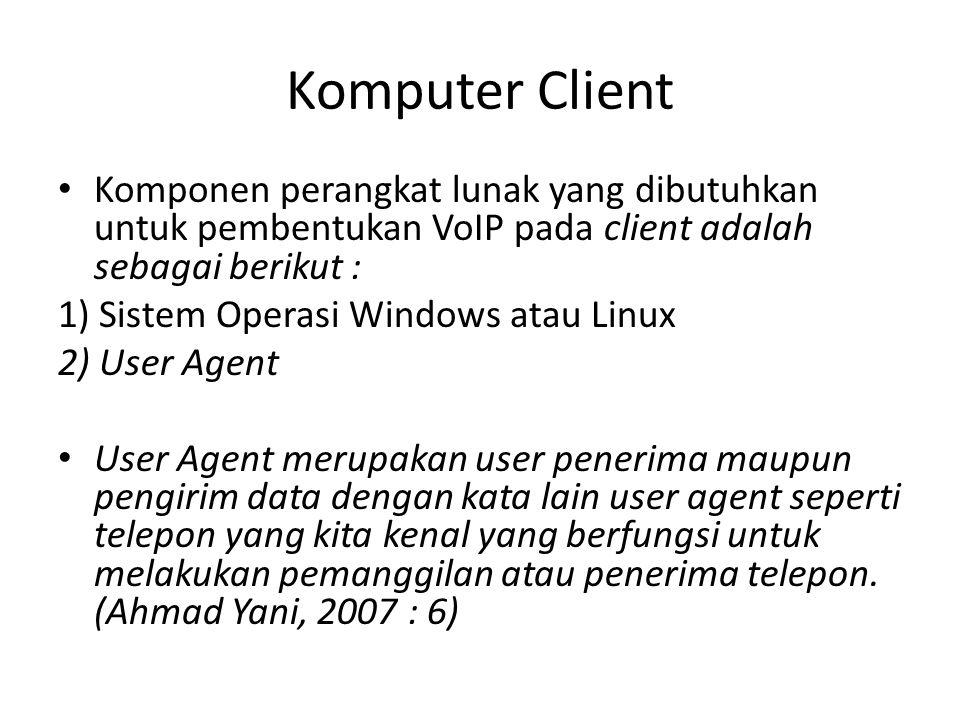 Komputer Client Komponen perangkat lunak yang dibutuhkan untuk pembentukan VoIP pada client adalah sebagai berikut :