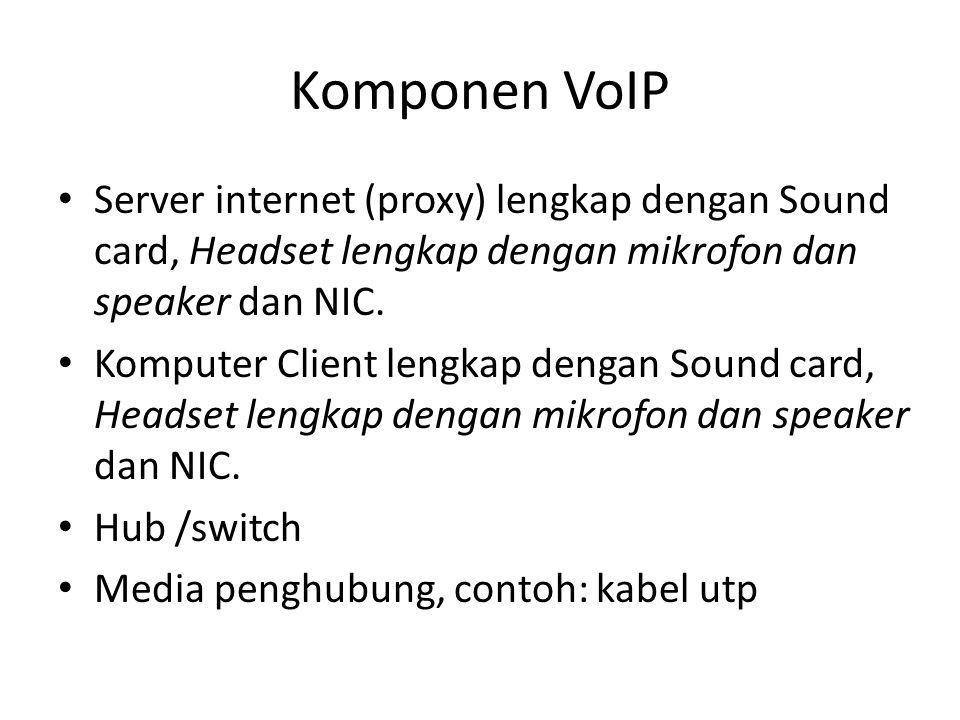 Komponen VoIP Server internet (proxy) lengkap dengan Sound card, Headset lengkap dengan mikrofon dan speaker dan NIC.