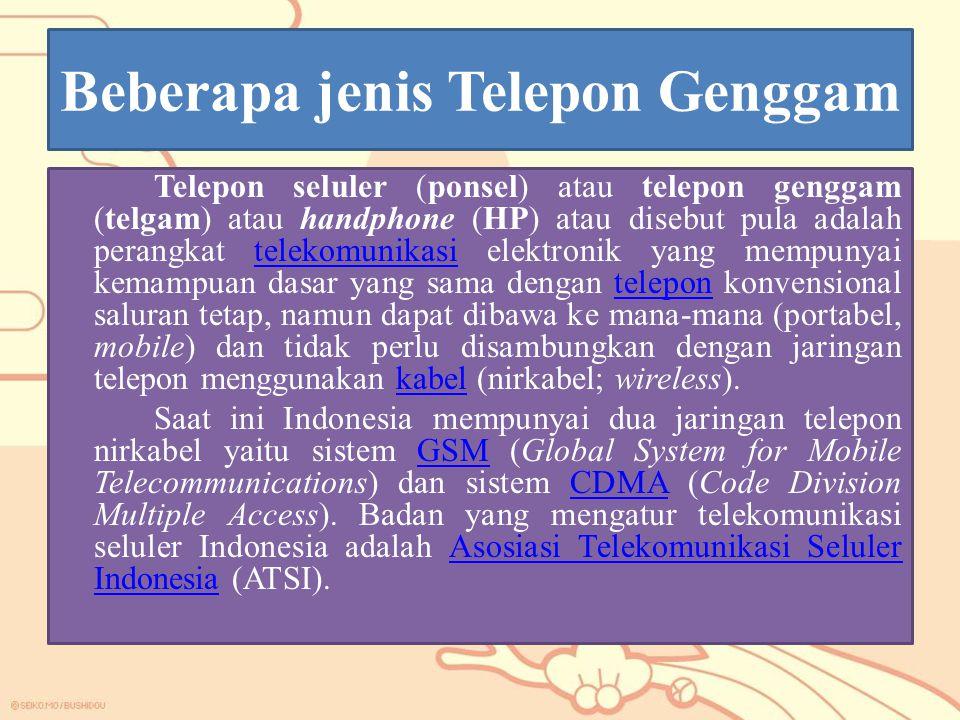 Beberapa jenis Telepon Genggam