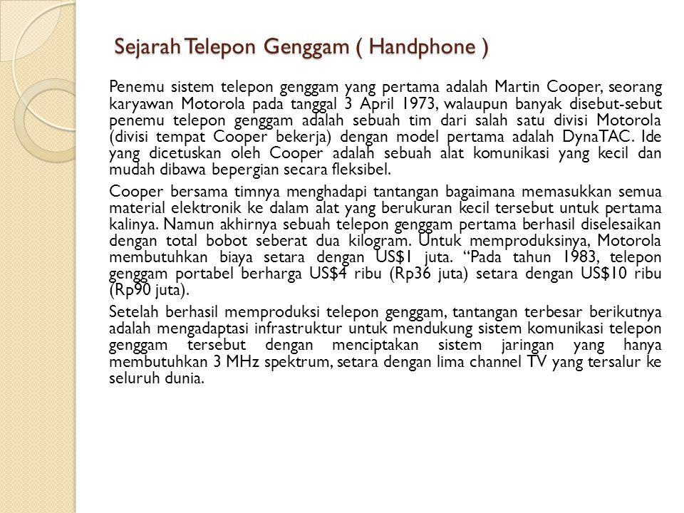 Sejarah Telepon Genggam ( Handphone )
