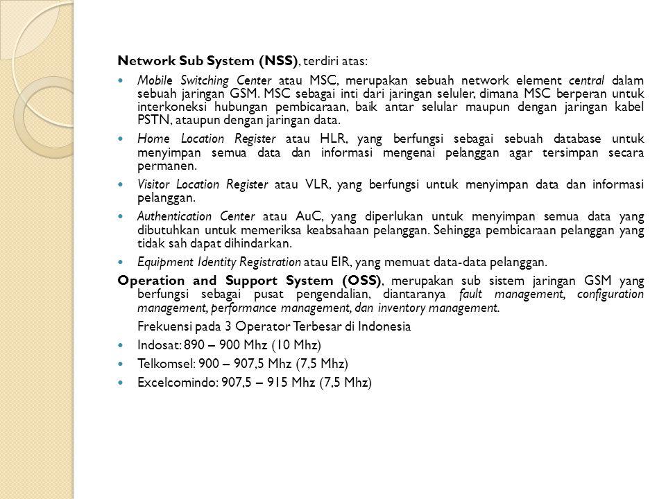 Network Sub System (NSS), terdiri atas: