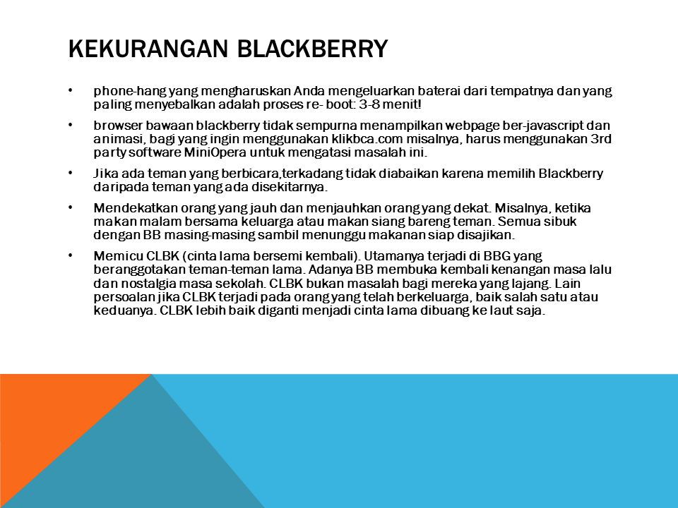 Kekurangan blackberry