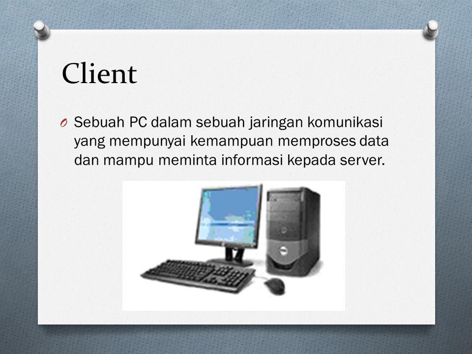Client Sebuah PC dalam sebuah jaringan komunikasi yang mempunyai kemampuan memproses data dan mampu meminta informasi kepada server.