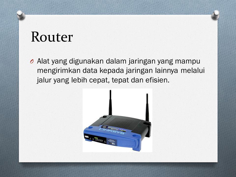 Router Alat yang digunakan dalam jaringan yang mampu mengirimkan data kepada jaringan lainnya melalui jalur yang lebih cepat, tepat dan efisien.