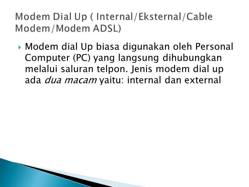 Modem Dial Up ( Internal/Eksternal/Cable Modem/Modem ADSL)