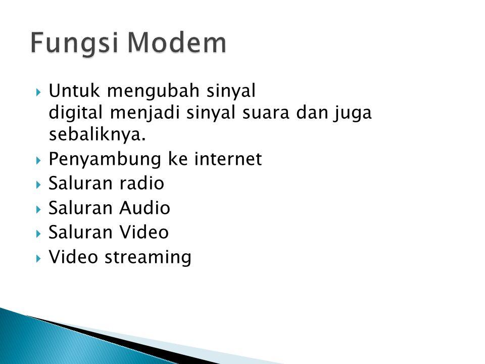 Fungsi Modem Untuk mengubah sinyal digital menjadi sinyal suara dan juga sebaliknya. Penyambung ke internet.