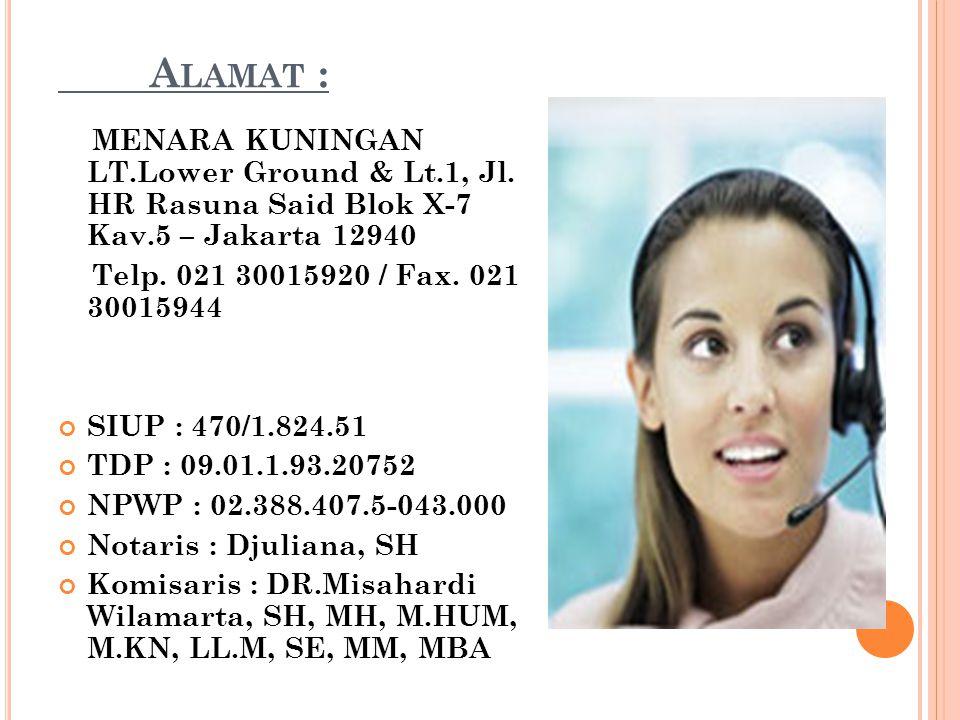 Alamat : MENARA KUNINGAN LT.Lower Ground & Lt.1, Jl. HR Rasuna Said Blok X-7 Kav.5 – Jakarta 12940.