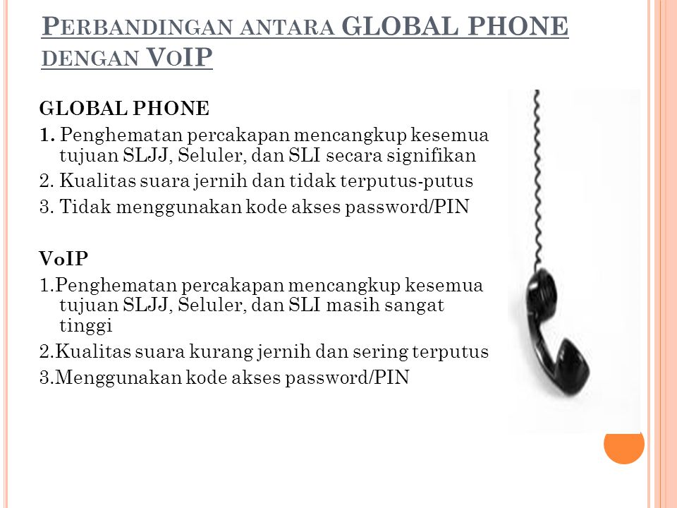 Perbandingan antara GLOBAL PHONE dengan VoIP