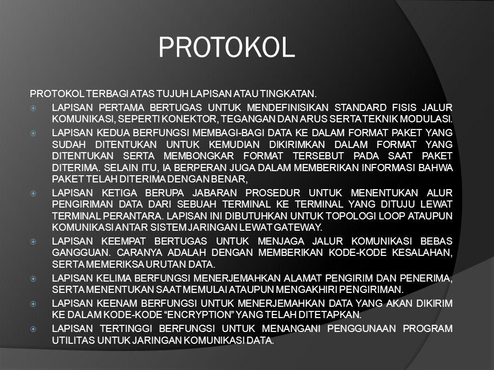 PROTOKOL PROTOKOL TERBAGI ATAS TUJUH LAPISAN ATAU TINGKATAN.