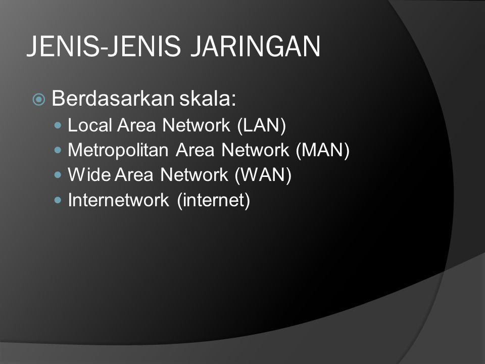 JENIS-JENIS JARINGAN Berdasarkan skala: Local Area Network (LAN)