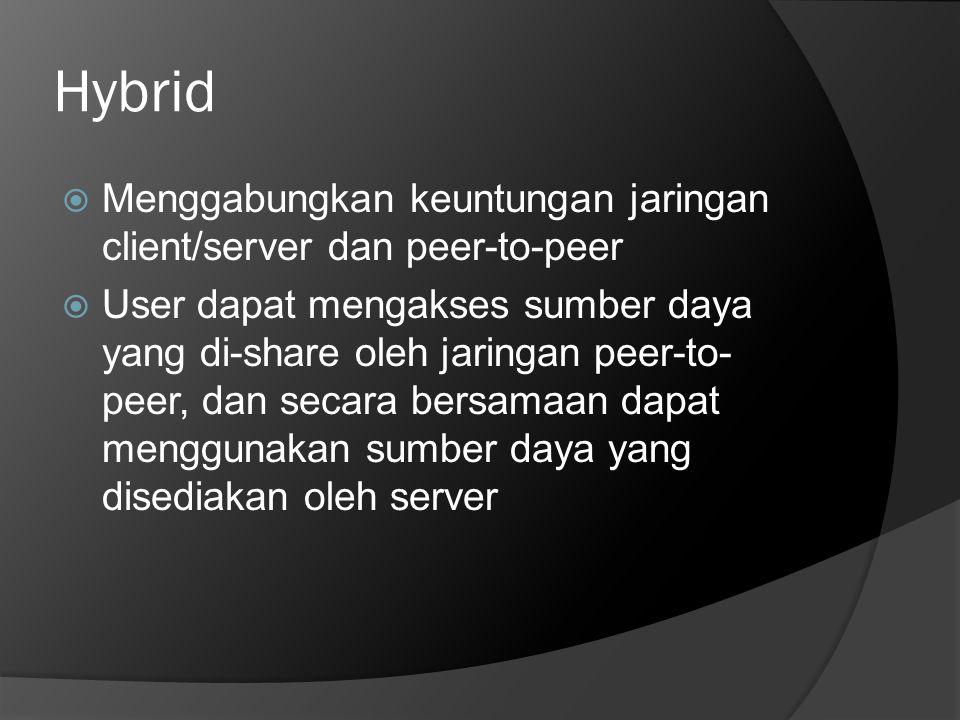 Hybrid Menggabungkan keuntungan jaringan client/server dan peer-to-peer.