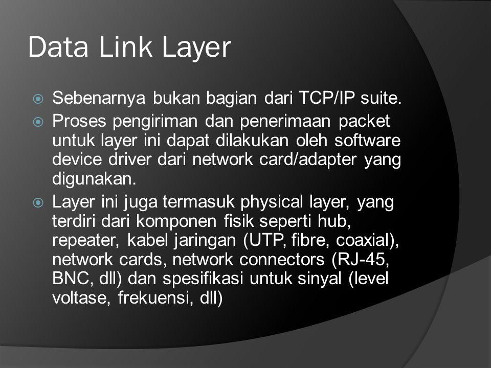 Data Link Layer Sebenarnya bukan bagian dari TCP/IP suite.