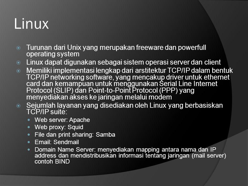 Linux Turunan dari Unix yang merupakan freeware dan powerfull operating system. Linux dapat digunakan sebagai sistem operasi server dan client.