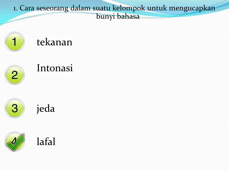 1. Cara seseorang dalam suatu kelompok untuk mengucapkan bunyi bahasa