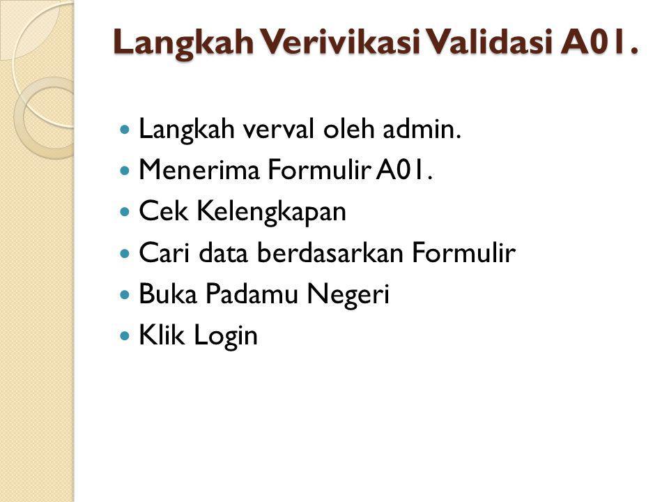 Langkah Verivikasi Validasi A01.