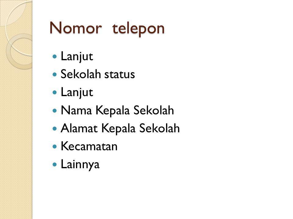 Nomor telepon Lanjut Sekolah status Nama Kepala Sekolah