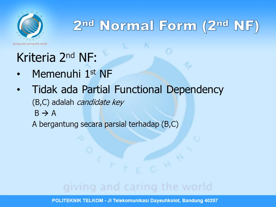 2nd Normal Form (2nd NF) Kriteria 2nd NF: Memenuhi 1st NF