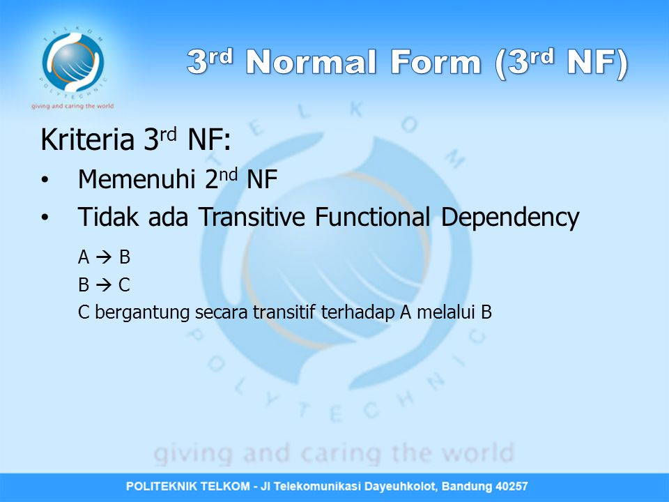 3rd Normal Form (3rd NF) Kriteria 3rd NF: Memenuhi 2nd NF