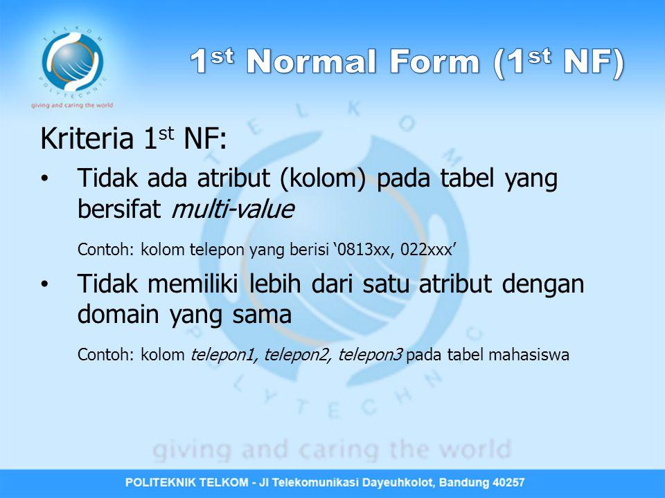 1st Normal Form (1st NF) Kriteria 1st NF: