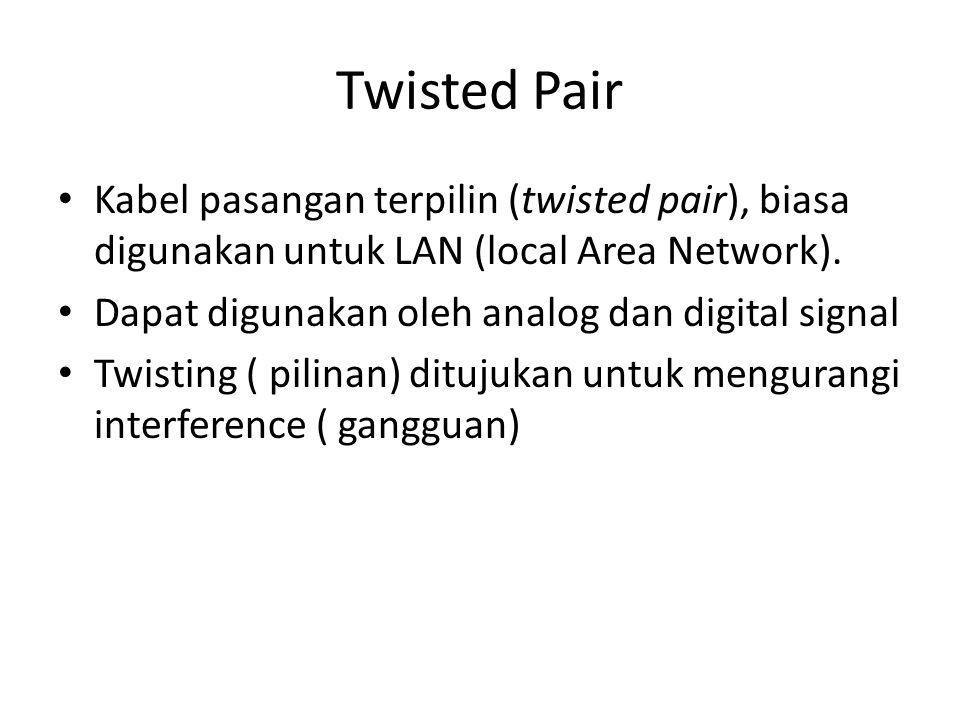 Twisted Pair Kabel pasangan terpilin (twisted pair), biasa digunakan untuk LAN (local Area Network).