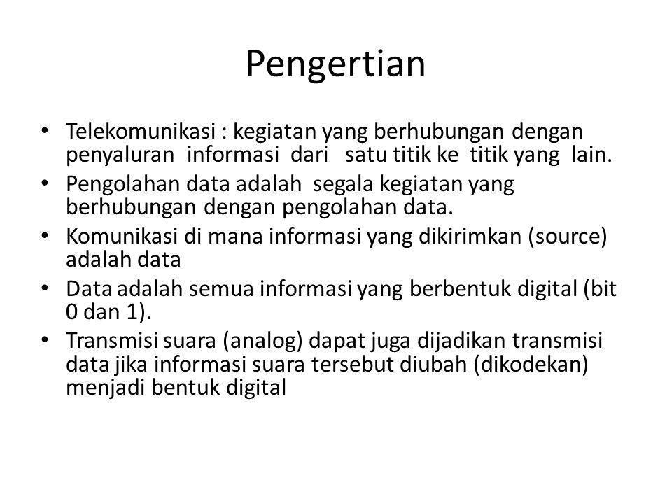 Pengertian Telekomunikasi : kegiatan yang berhubungan dengan penyaluran informasi dari satu titik ke titik yang lain.