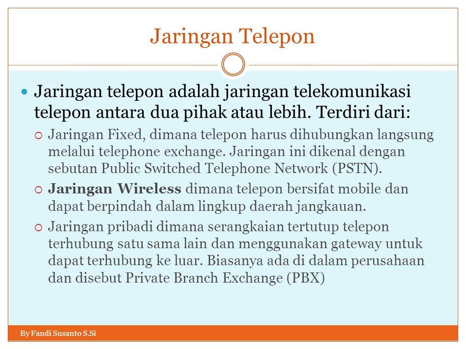Jaringan Telepon Jaringan telepon adalah jaringan telekomunikasi telepon antara dua pihak atau lebih. Terdiri dari: