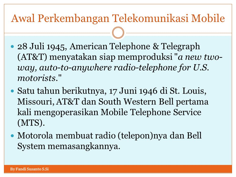 Awal Perkembangan Telekomunikasi Mobile