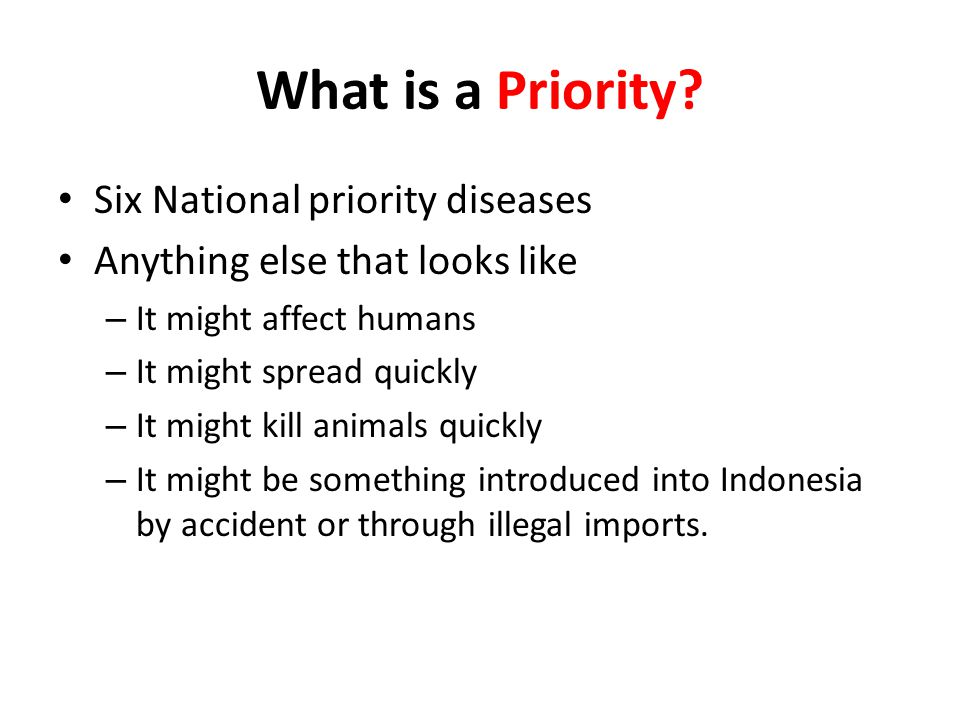 What is a Priority Six National priority diseases
