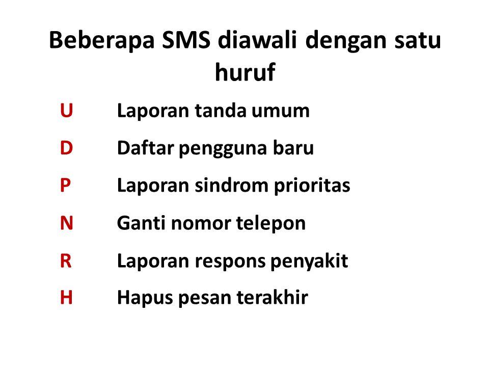Beberapa SMS diawali dengan satu huruf