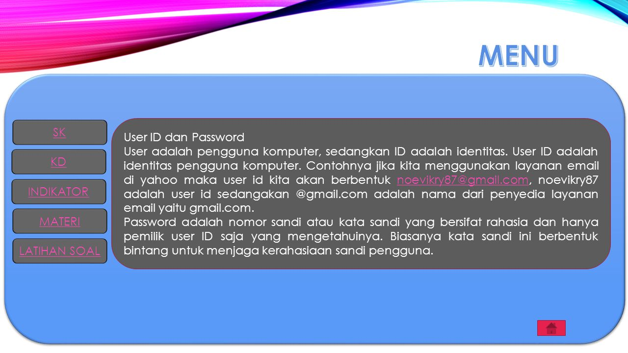 MENU SK User ID dan Password